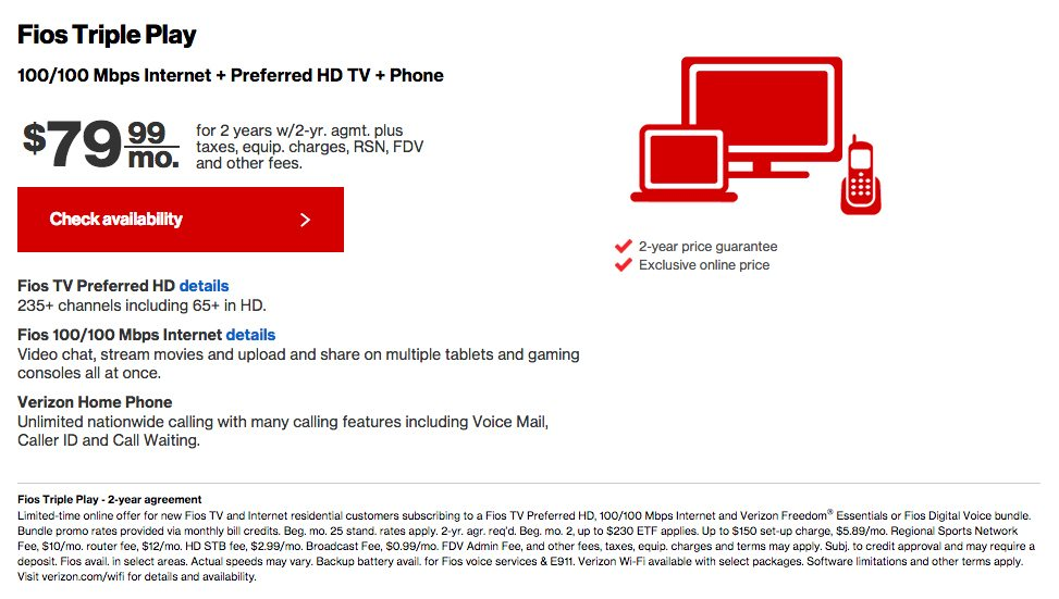 fios bundle TV service included