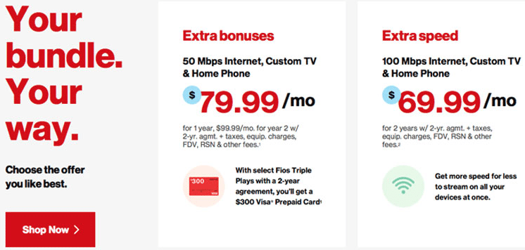 Verizon Fios Gigabit Triple Play + 100 Mbps Internet