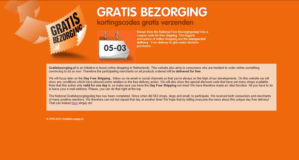 Gratisbezorging.nl Website