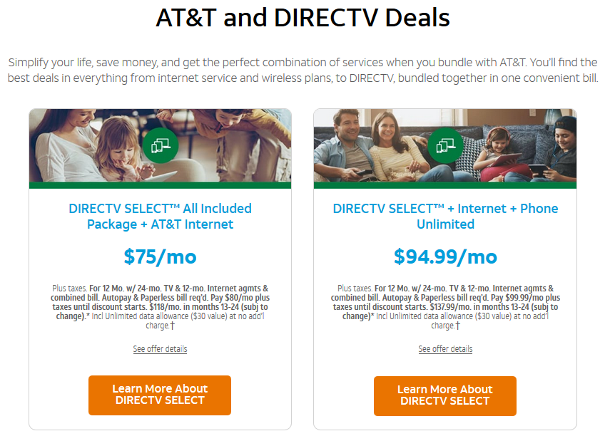 Exisiting customers bundle At&t TV with Internet