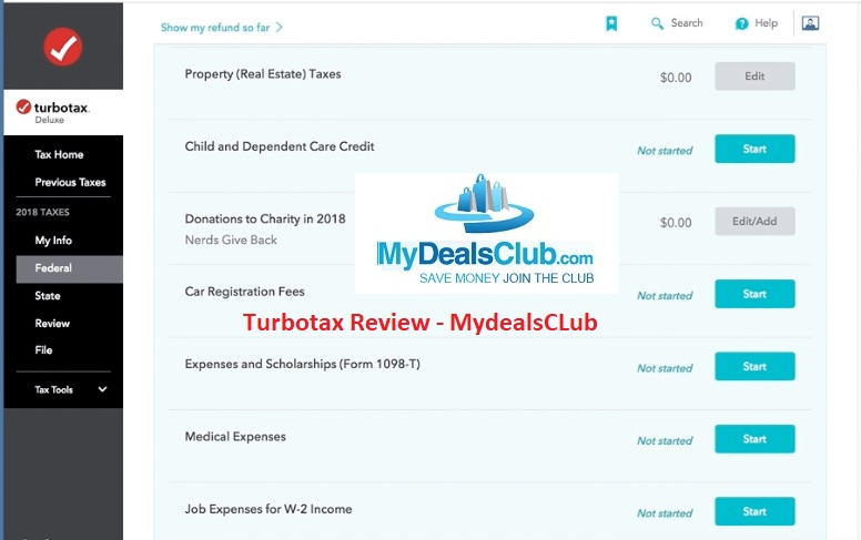 Turbotax review by Mydealsclub for 2020 tax season